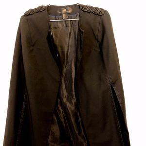 H&M Black Cape With Should & Side Detailing